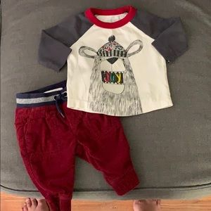 Gymboree 0-3 month tee and cords